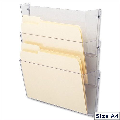 Literature &Brochure Holder Wall Pockets A4 Landscape Crystal Pack 3 Deflecto