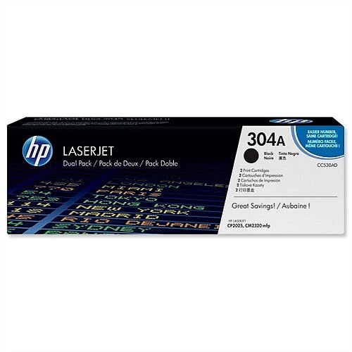 HP 304A Black Laserjet Toner Cartridge Twin Pack CC530AD