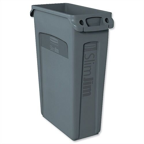 Rubbermaid Slim Jim Recycling Bin Container with Venting Channels 87L Grey Without Lid