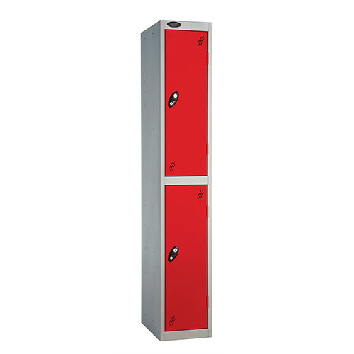 Probe 2 Door Extra Deep Locker ACTIVECOAT W305xD460xH1780mm Silver Body Red Doors