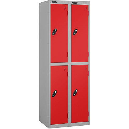 Probe 2 Door Locker Nest of 2 ACTIVECOAT W305xD305xH1780mm Silver Body Red Doors By Lion Steel