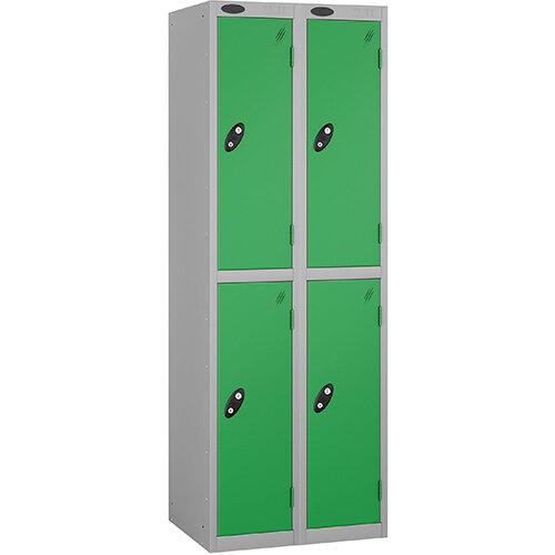 Probe 2 Door Locker Nest of 2 ACTIVECOAT W305xD305xH1780mm Silver Body Green Doors By Lion Steel