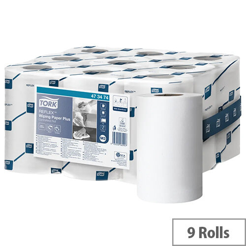Tork Reflex M3 Wiping White Paper Cleaning Rolls 2-Ply 200 Sheets White Pack 9