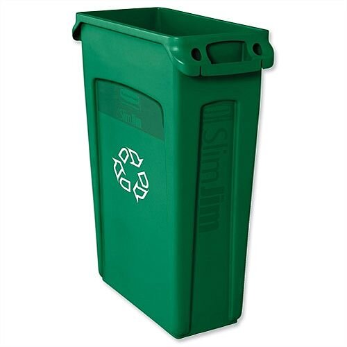 Rubbermaid Slim Jim Recycling Bin Container with Venting Channels 87L Green Without Lid