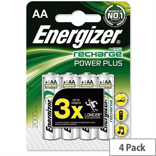 Energizer AA Rechargeable Battery NiMH 1.2V 2000mAh Pack 4
