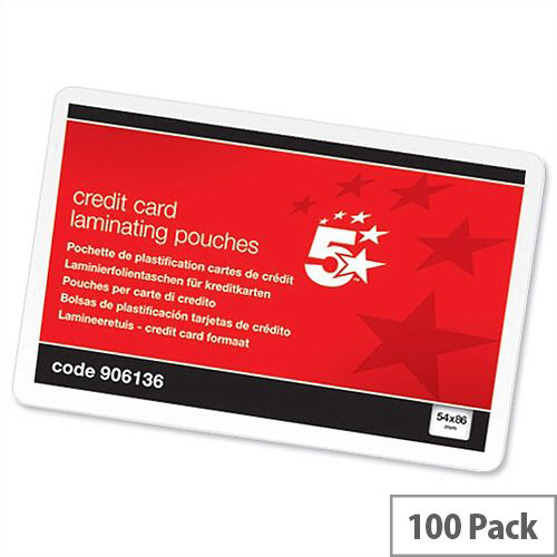 5 Star Credit Card Size Laminating Pouches - Glossy 250 Micron Pack 100 54mm x 86mm. Ideal For Name Badges, Business Cards, Small Documents &More.