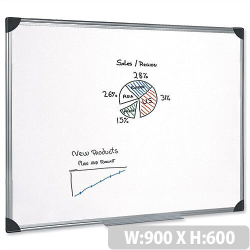Magnetic Whiteboard Aluminium Trim 900 x 600mm 5 Star– Wall-Mountable, Accessory Kit, Magnetic, Suitable For The Office, Drywipe &Wall Fixing Method (908116)
