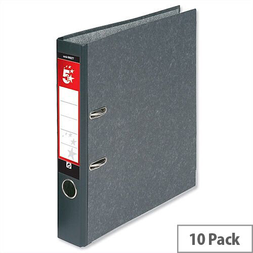 5 Star Office Mini Lever Arch File 50mm Spine A4 Cloudy Grey Pack of 10 – 50mm Spine, 300 To 500 Page Capacity, Cloudy Effect Paper, Spine Label, reinforced Edge &Finger Pull Ring (908277)