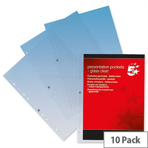 A4 Presentation Punched Pockets Clear Pack 10 5 Star