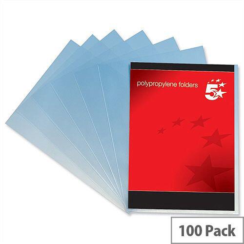 Cut Flush Folder A4 Polypropylene Translucent Clear Pack 100 5 Star