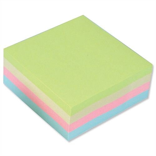Sticky Notes Cube Pad of 400 Sheets 76x76mm Pastel Rainbow 5 Star