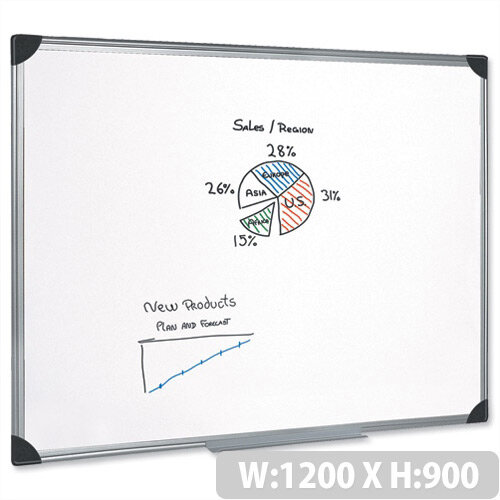 Magnetic Whiteboard Aluminium Trim 1200 x 900mm 5 Star
