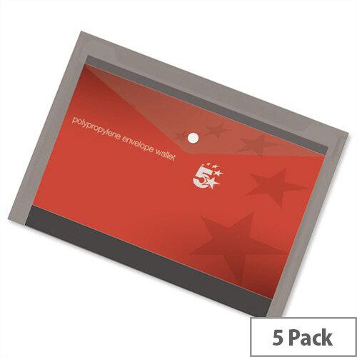 A4 Office Envelope Stud Wallet Plastic Transparent Smoke Pack 5 5 Star