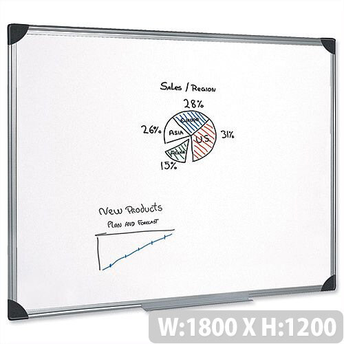 Magnetic Whiteboard Aluminium Trim 1800 x 1200mm 5 Star