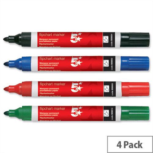 Assorted Flipchart Marker Pen Line Width 2.0mm Pack 4 5 Star