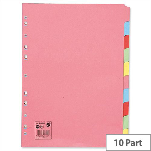 10 Part Subject Dividers Assorted A4 5 Star Pack 25