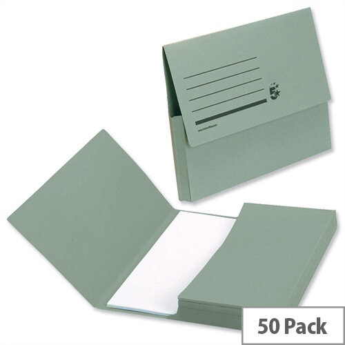 Document Wallet A4 Green Pack 50 5 Star