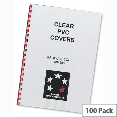 Comb Binding Covers PVC 150 micron A4 Clear Pack 100 5 Star