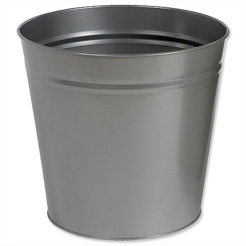 5 Star Office Waste Desk Bin Round Steel Scratch Resistant D300xH280mm 15 Litres Grey
