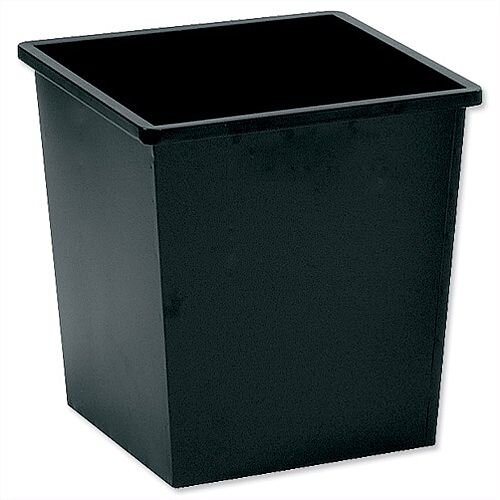 5 Star Office Waste Desk Bin Square Steel Scratch Resistant W325xD325xH350mm 27 Litres Black