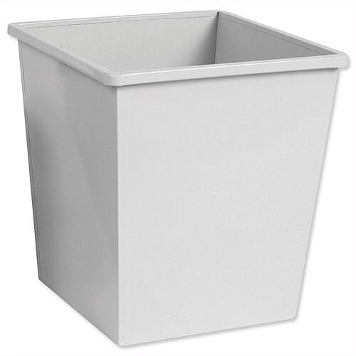 5 Star Office Waste Desk Bin Square Steel Scratch Resistant W325xD325xH350mm 27 Litres Grey