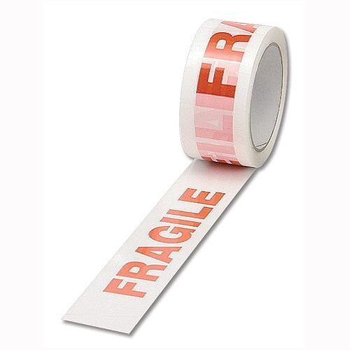 Fragile Packaging/Parcel Tape 50mm x 66m Red on White Pack 6