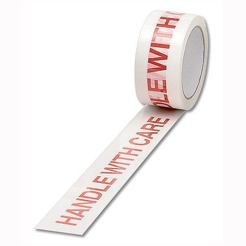 Printed Tape Handle with Care 50mm x 66m Red on White Pack 6
