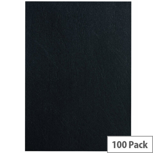 Fellowes Apex Leatherboard Cover Black A4 Pack 100