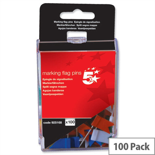 Flag Marking Pins Assorted Pack 100 5 Star