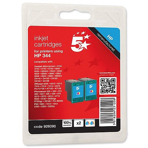 HP 344 Compatible Colour Ink Cartridge Pack 2 C9505EE 5 Star