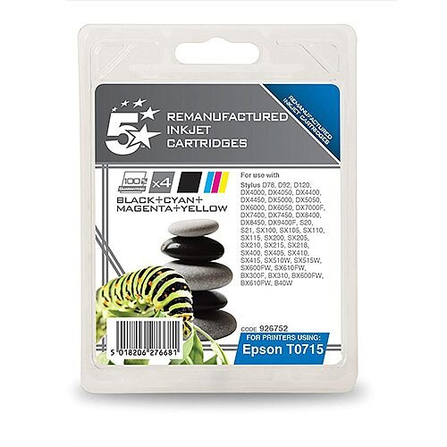 Epson T0715 Compatible Black/Cyan/Magenta/Yellow Cheetah Series Inkjet Cartridges 5 Star [Pack 4] C13T07154010