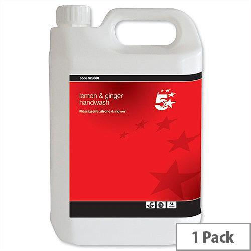 5 Star Handwash Lemon Fragrance Hand Soap Dispenser Refill 5 Litre (Pack 1)
