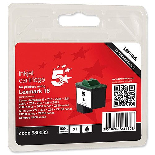 Compatible Lexmark No 16 Black Ink Cartridge 5 Star 10N0016E