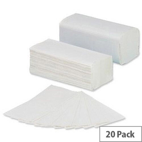 5 Star Hand Paper Towels V-Fold 2-ply Recycled Sheet 250x230mm 160 Towels Per Sleeve 20 Sleeves White (3200 Sheets)