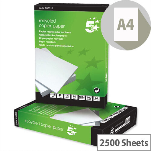 5 Star A4 Copier Paper Recycled 80gsm White 5 x 500 Sheets