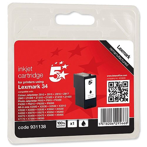 Compatible Lexmark 34XL Black Ink Cartridge 5 Star 18C0034E