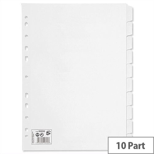 10 Part Subject Dividers White A4 Pack 10 5 Star