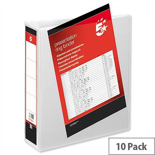 White Presentation Ring Binder 2 Ring PVC 50mm A4 Pack 10 5 Star
