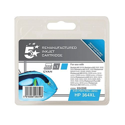 HP 364XL Compatible Cyan Ink Cartridge CB323EE 5 Star