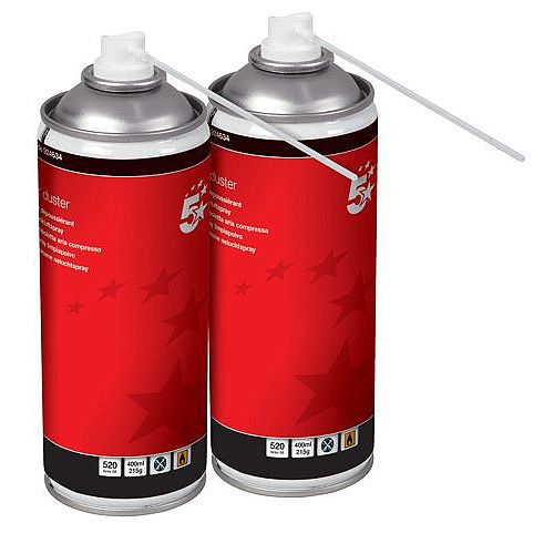 5 Star Office Spray Air Duster 400ml Cans Pack of 2 - HFC Free Compressed gas to remove debris and dirt from hard to reach areas - can be used on all printers, keyboards and other office equipment
