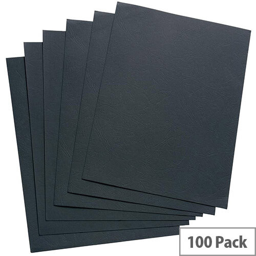 5 Star Office Binding Covers 240gsm Leathergrain ref. 936148 - Size: A4 - Colour: Black - Pack of 100