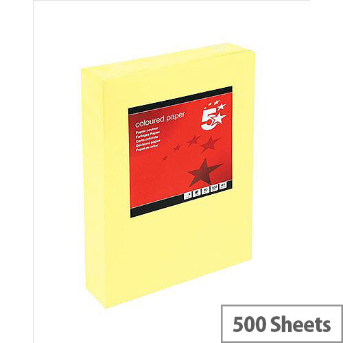 A4 Medium Yellow Coloured Paper Multifunctional Ream-Wrapped 80gsm 500 Sheets 5 Star