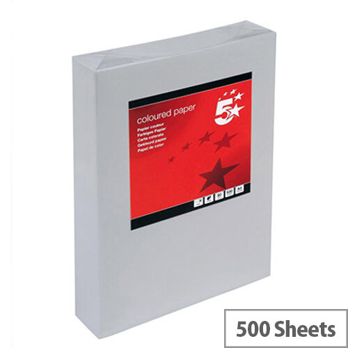 5 Star Medium Grey A4 Paper Multifunctional Ream-Wrapped 80gsm 500 Sheets