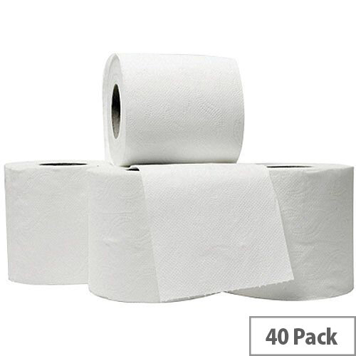 5 Star Luxury Toilet Tissue Paper Rolls White 240 Sheets per Roll (Pack 40 Rolls)