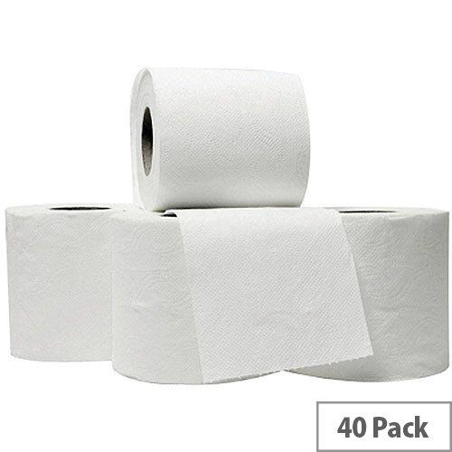 5 Star Luxury Toilet Tissue Paper Rolls White 240 Sheets per Roll (Pack 40 Rolls)