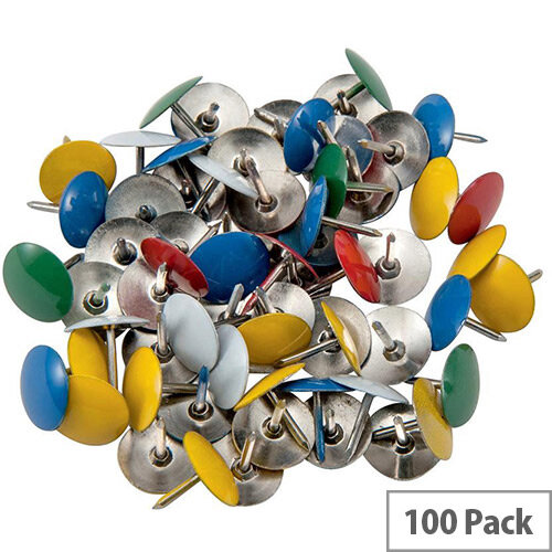 5 Star Office Drawing Pins Coloured Head Assorted  Box 100