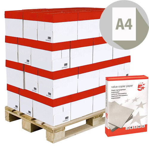 5 Star Value A4 Pallet Printer Paper Ream Wrapped 240 x 500 Sheets White