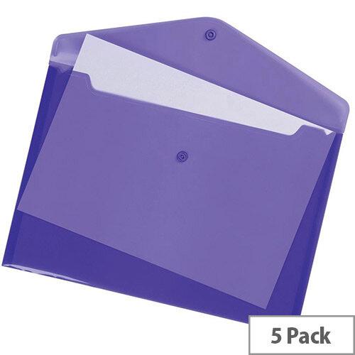 A4 Office Envelope Stud Wallet Transparent Purple Pack 5 5 Star