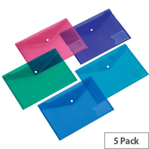 5 Star Office  A5  Envelope Stud Wallet with Card Holder Polypropylene Assorted  Pack 5