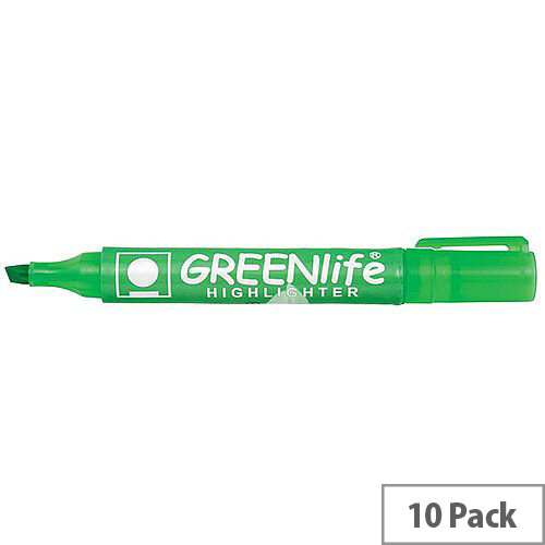 5 Star Eco Highlighter Pens 1-5mm Line Green Pack 10